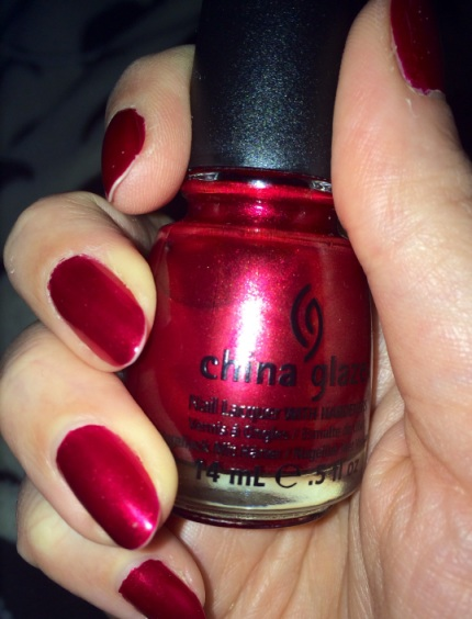 Metallic red nails