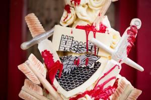 red wedding cake
